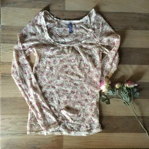 FREE PEOPLE Floral Long Sleeve Mesh Cream Top S
